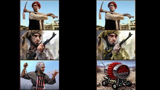 Links einige Einheiten der ungekürzten Fassung, rechts die deutsche Versionen. Aus Menschen werden Androiden oder fahrende Bomben. (Bilder von schnittberichte.com)