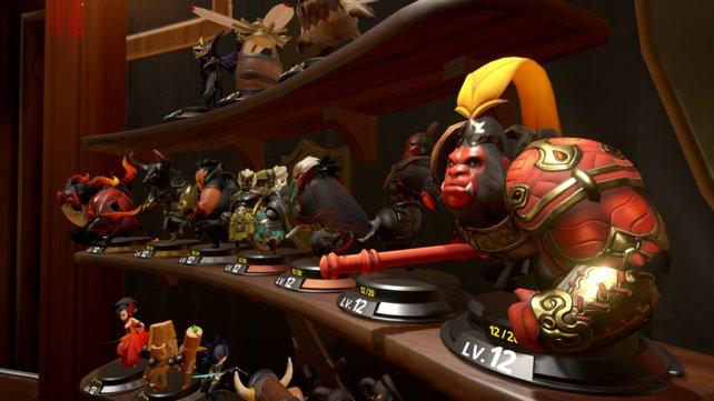 Jede der aktuell 37 Spielfiguren lässt sich durch regelmäßigen Einsatz in Online-Duellen aufleveln.