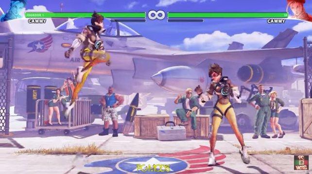 Tracer aus Overwatch in Street Fighter 5.