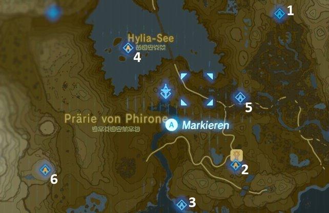 """Die Karte mit den Schreinen der Region """"Turm des Sees""""."""
