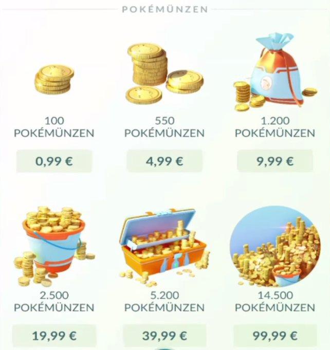Hier die In-Game Ansicht der Münzpakete im Shop.
