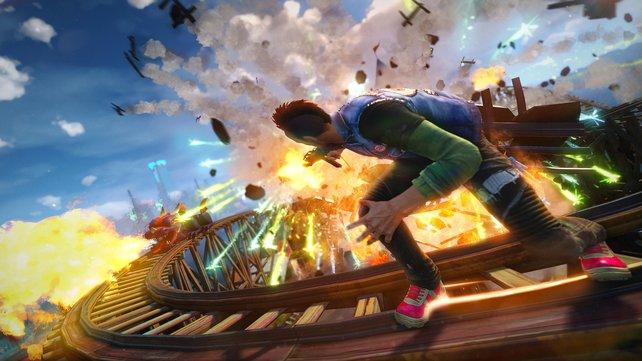 Abgefahren: Sunset Overdrive ist das extrem bunte und überdrehte Exklusivspiel für die Xbox One.