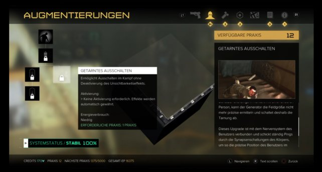 "Haut-Upgrade: ""Getarntes Ausschalten"""