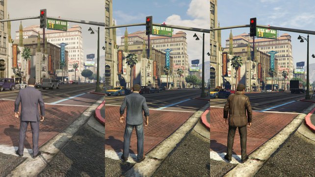 Auf der Xbox 360 (links) verwässert die Stadtkulisse, auf Xbox One (Mitte) sieht es prächtiger aus, jedoch nicht ganz so knackscharf wie auf PC (rechts).