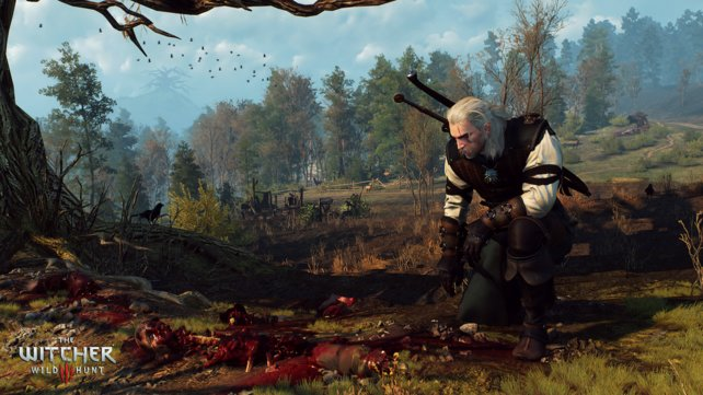 Geralt entdeckt eine Leiche. Per Knopfdruck setzt ihr eure Hexersinne ein und findet vielleicht Fußspuren oder andere rot markierte Hinweise.