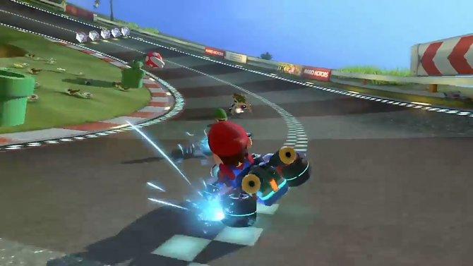 Mario und seine Freunde rasen auf Platz 10 mit Mario Kart 8.