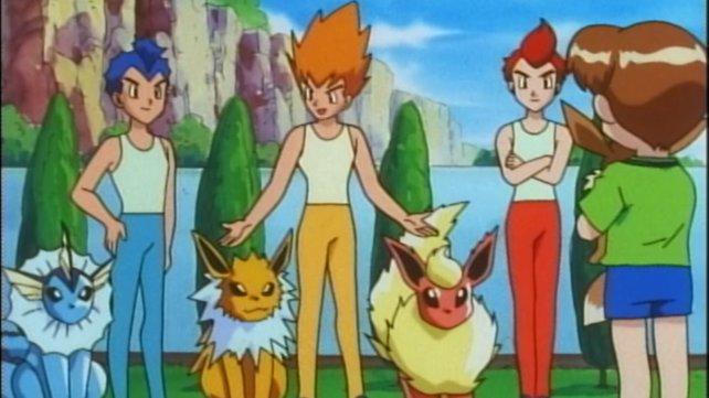 Rainer, Sparky und Pyro mit ihren Pokémon Aquana, Blitza und Flamara.