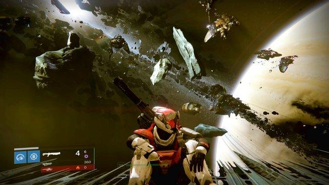 Ihr landet auf dem Grabschiff und findet am Abhang hinter euch gleich das erste Fragment.