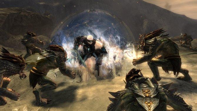 """Die Elite-Spezialisierung """"Herold"""" der neuen Klasse Widergänger in Guild Wars 2 - Heart of Thorns erhält unter anderem einen Schild zur Verteidigung."""