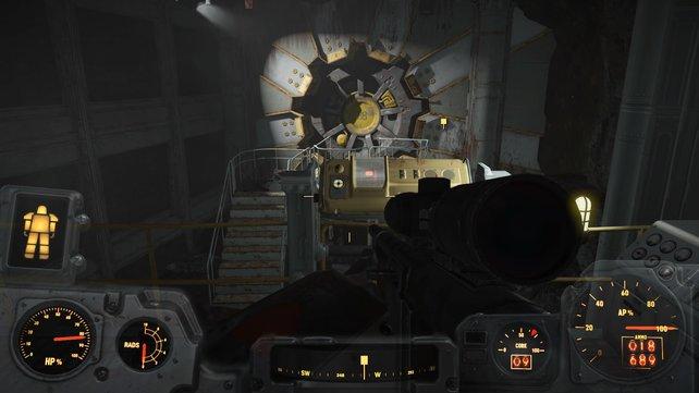 Wollt ihr Vault 88 aufbauen, müsst ihr zunächst die Raider beim Eingang töten.