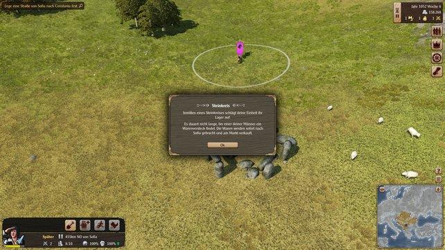 Überall auf der Karte sind besondere Orte versteckt. Dieser Steinkreis wird von Banditen bewacht.