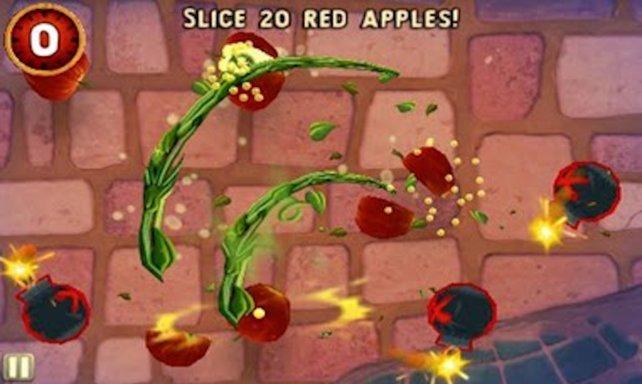 Per Touchscreen zerhackt ihr Früchte.