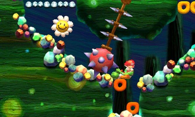 In Yoshi's New Island für Nintendo 3DS beschützen die Yoshi das kleine Baby Mario.