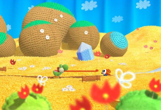In der fluffigen Spielwelt besteht alles aus Stoffen und Garnen.