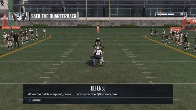 """Im Skills Trainer könnt ihr den """"Sack"""" gegen den Quarterback üben."""