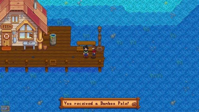 Willy überreicht euch eure erste Angel, mit der ihr bereits einige Fische fangen könnt.