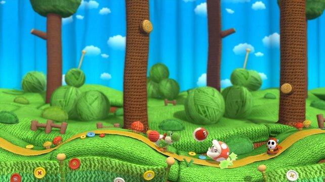 Konsequent setzt das Spiel auf Textilien - vom gestrickten Helden bis zu den Wollknäueln im Hintergrund.