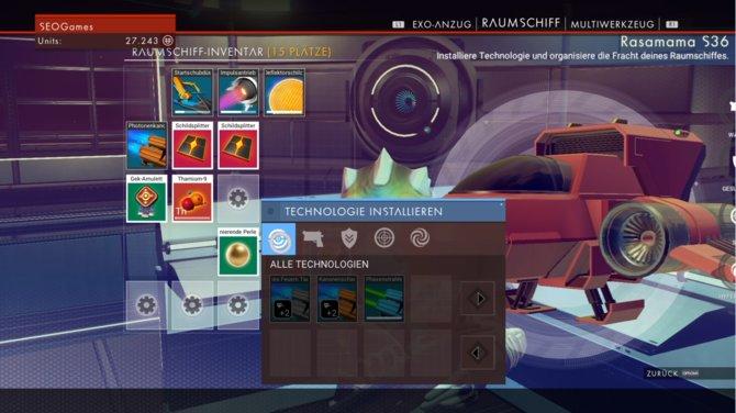Raumschiff-Inventar Übersicht