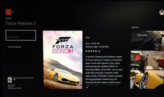 Hier seht ihr den Download-Bildschirm zu Forza Horizon 2 des amerikanischen Marktplatzes von Xbox Live.