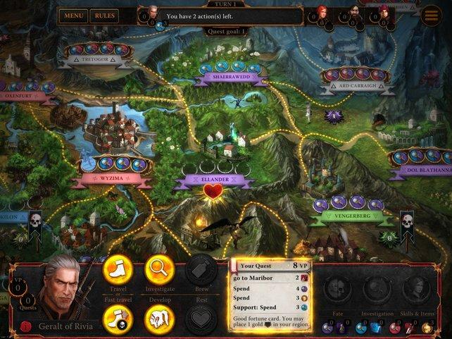 Vier Helden ziehen rundenweise über das Spielbrett und erledigen Quests.