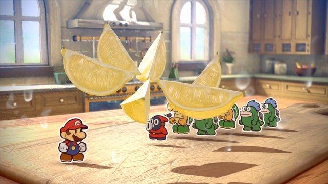 Hier gibt Mario den Gegnern im wahrsten Sinne des Wortes Saures.
