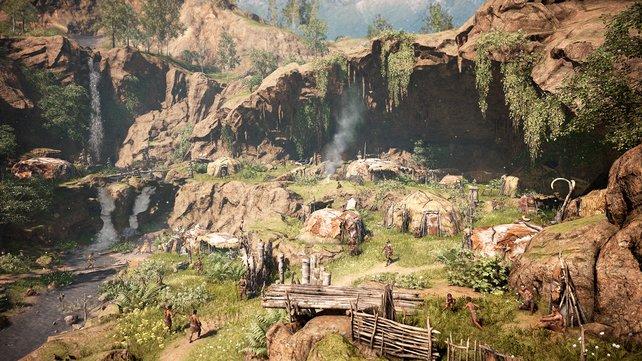 Hier seht ihr euer Dorf, das ihr im Lauf des Spiels ausbaut.