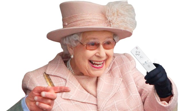 Auch sie ist von der Wii kaum noch wegzukriegen: Die Königin von England. Zugegeben, eine Fotomontage, aber nicht weit von der Wirklichkeit entfernt: Die Queen besitzt wirklich eine Wii, allerdings eine vergoldete, versteht sich.