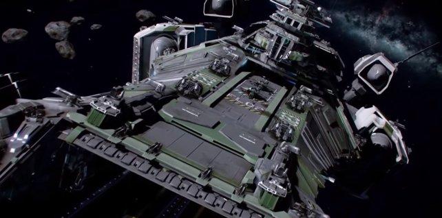 Trägerschiff im Anflug