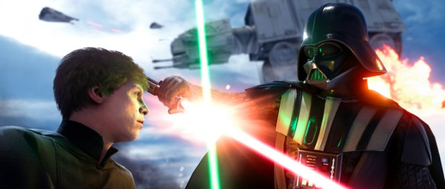 Das gibt es im Spiel: Luke Skywaker trifft auf Darth Vader.