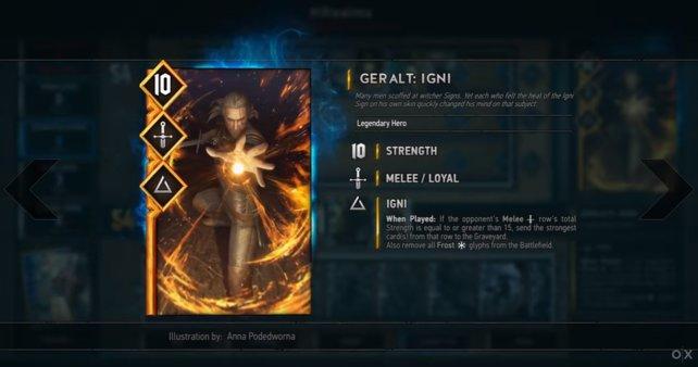 """Helden-Karte """"Geralt"""". Ihr müsst kein Echtgeld im Ingame-Shop ausgeben wenn ihr alle Karten haben wollt!"""