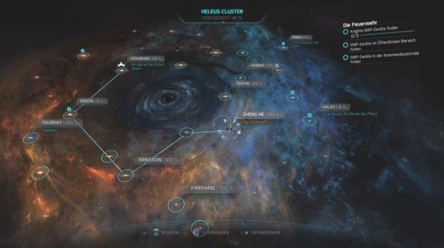 """Die Nebenmission """"Die Feuerwehr findet sich unter dem Missionstyp Heleus-Aufgabe bei Nexus."""