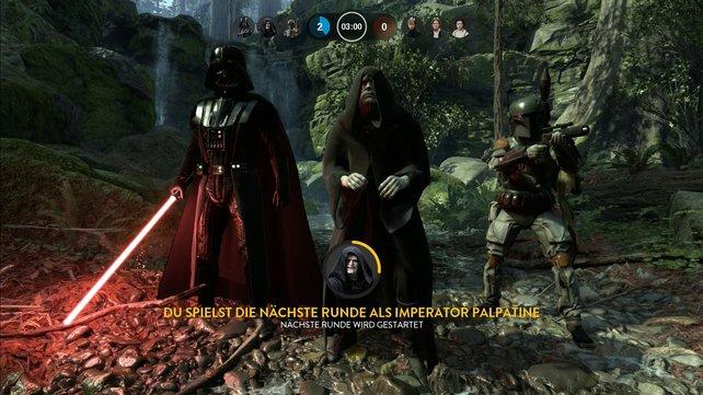 Die Schurken Darth Vader, Imperator Palpatine und Boba Fett