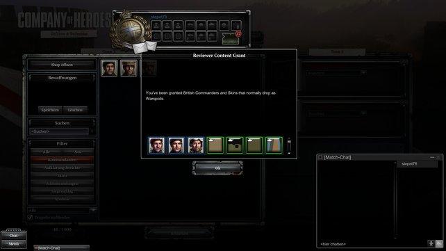 In der Testversion sind bereits alle Kommandanten und Skins vorhanden. In der Kaufversion sollt ihr diese freispielen oder käuflich erwerben.