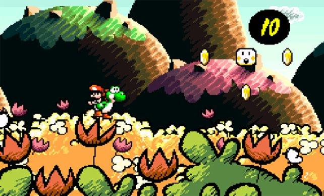 Gingen Yoshis Verwandlungen in Super Mario World noch kaum über kosmetische Feinheiten hinaus, kann er jetzt zu einem Auto, Hubschrauber oder Maulwurf werden - und laut Quellcode des Spiels sollte er sogar mal zum Baum und Pilz gedeihen können.