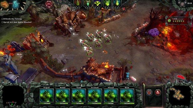 Auf der Oberwelt steuert ihr eure Truppen wie in einem Echtzeit-Strategiespiel.
