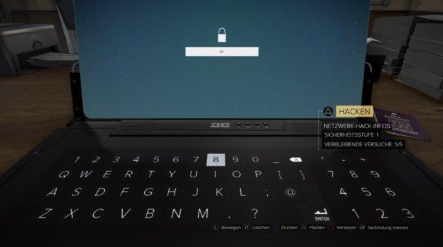 """Hinweis: Im Spiel finden sich oft auch Zahlen-Codes, mit denen ihr das """"Hacken umgehen"""" könnt."""