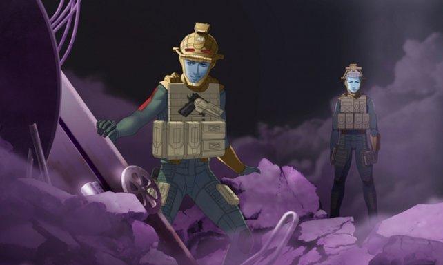 In seltsamen Rüstungen erforscht ihr die mysteriöse Schwarzwelt.