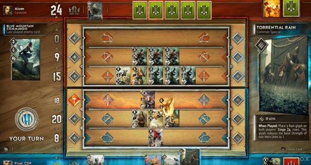 Die Spielbrettansicht mit dem Schlachtfeld des Gwent Kartenspiels.