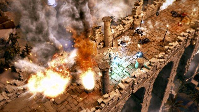 Bis zu vier Spieler kämpfen und rätseln sich gleichzeitig durch den Tempel des Osiris.