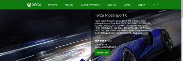 Auf einem Bild konnte der benötigte Speicher für Forza Motorsport 6 festgehalten werden.