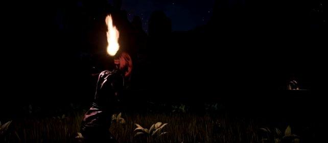 Die Welt von Conan ist in der Nacht extrem dunkel, ihr erkennt die Hand vor Augen nicht. Also baut euch eine einfache Fackel.