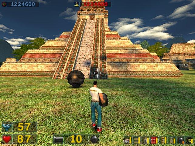 Fast wie Bowling: Mit der SBC Cannon feuert ihr riesige Kugeln, die so ziemlich alle Objekte im Spiel durchschlagen.