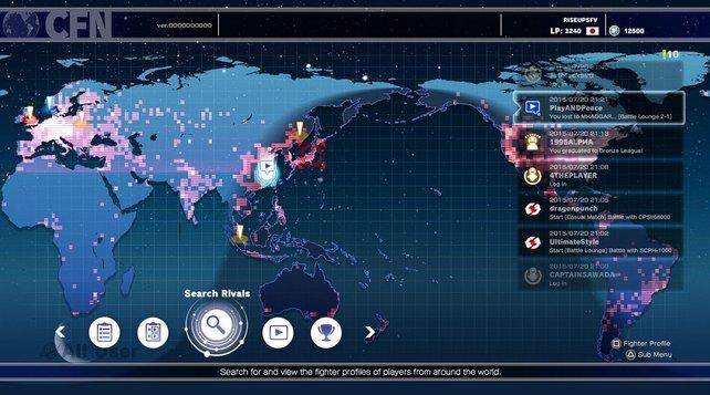 Hier seht ihr einen vorläufigen Ausschnitt des Hauptbildschirms des Street Fighter Networks.