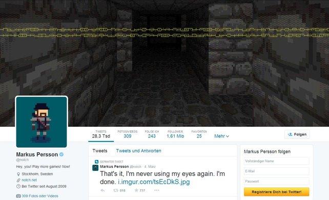 Auf Twitter findet ihr unter anderm auch den Minecraft-Erfinder Markus Persson.