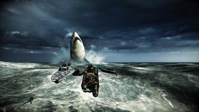 Der weiße Hai lebt! Positioniert zehn Spieler um die Boje und erlebt ein gefräßiges Wunder.