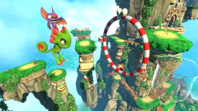 Beide Helden verfügen über individuelle Fähigkeiten. Fledermaus Laylee kann Yooka zum Beispiel durch die Lüfte transportieren.