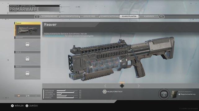 Die Reaver ist eine halbautomatische Ballistik-Schrotflinte.