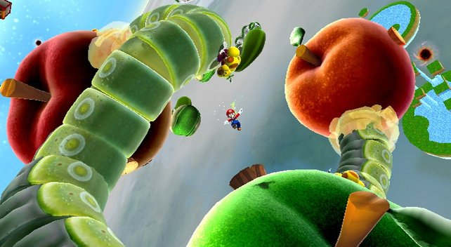 Witzig, der große Wurm verbindet fressend die Äpfel miteinander