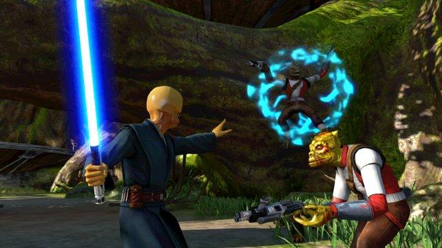 Mit der Macht in der linken Hand lasst ihr Gegner und Objekte schweben.