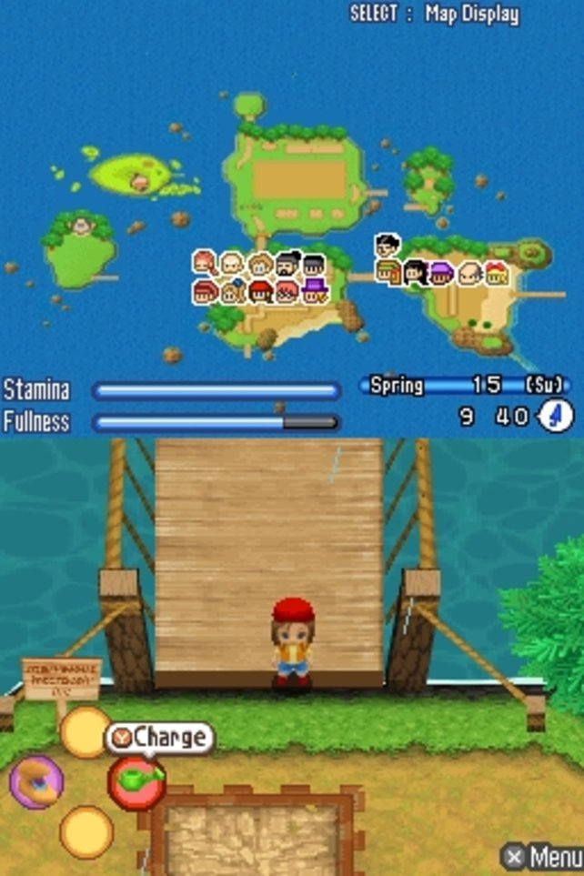 Der Spieler als Farmer auf den Sonnenschein-Inseln.